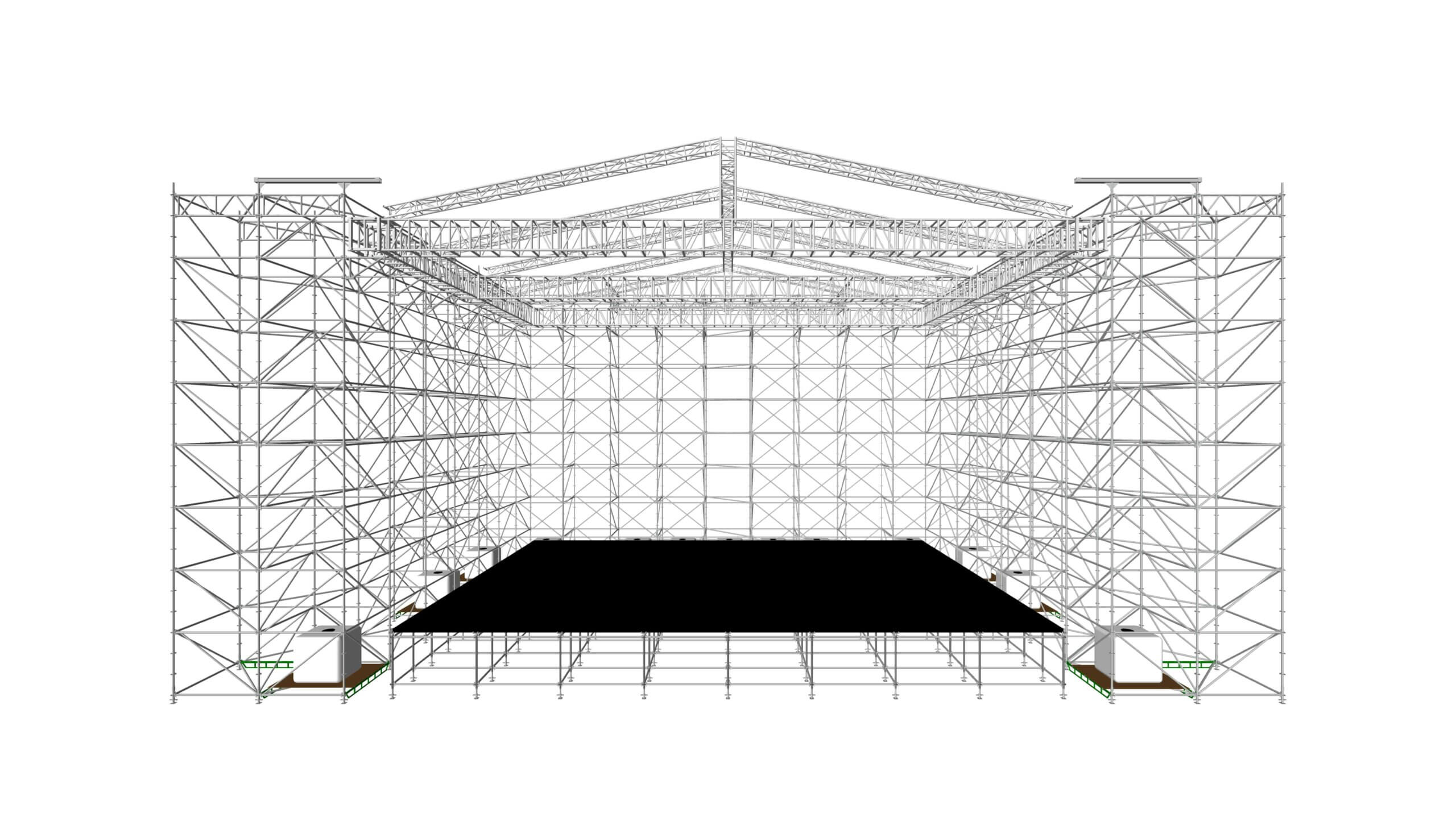 На сценических лесах, ферма 76х60, крыша 18х12.5м