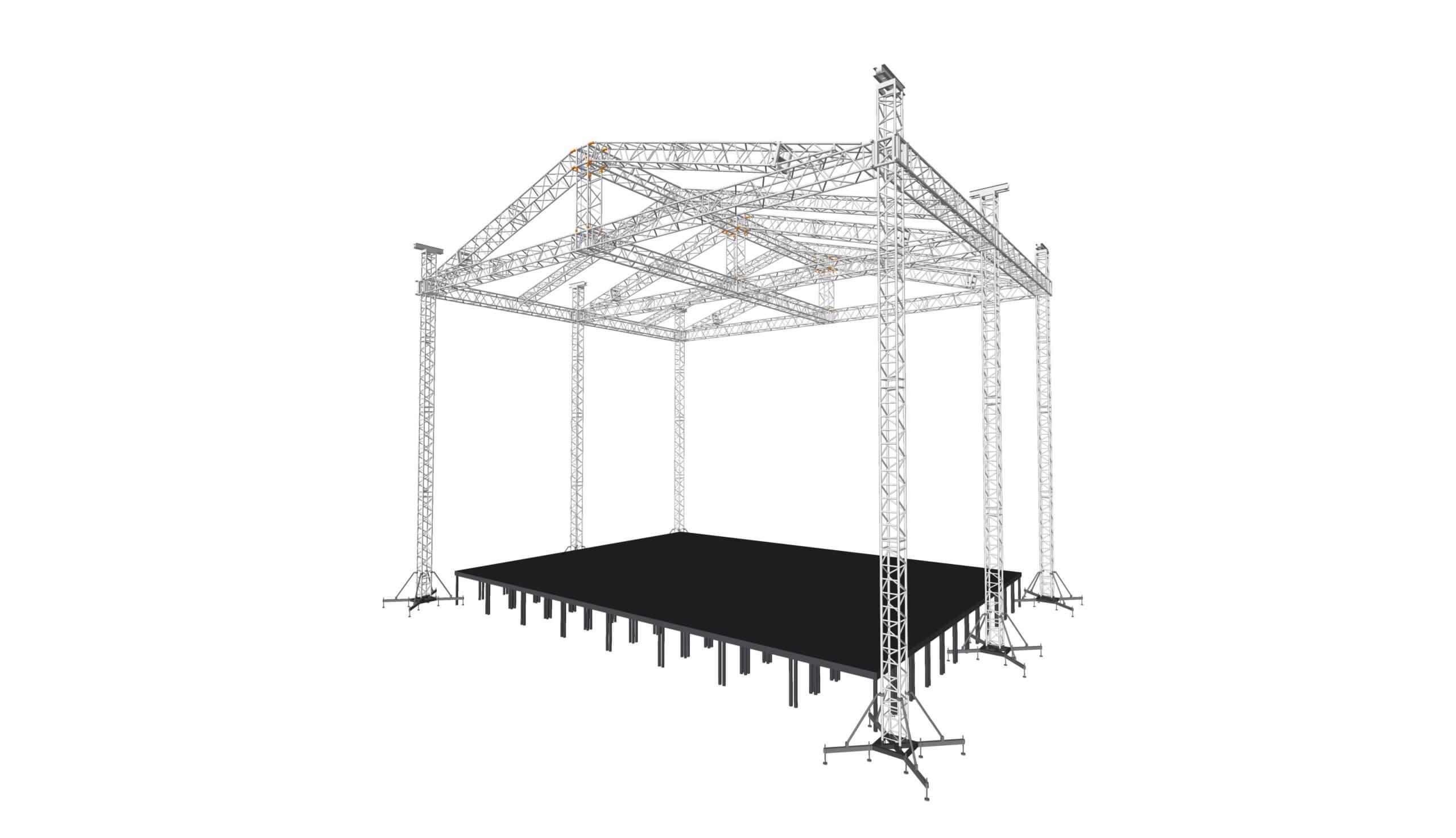 На 6ти опорах, PKC ферма 52х52, крыша 17х13м