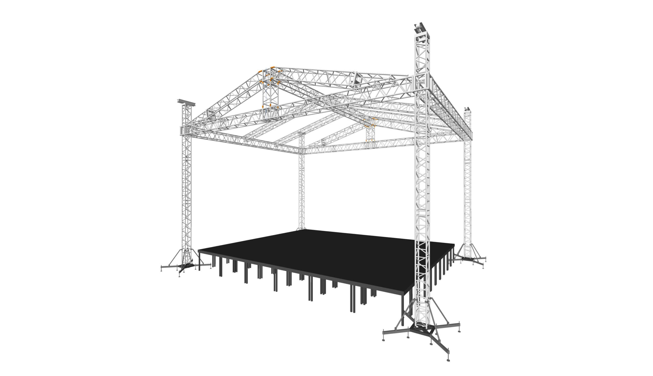 На 4х опорах PKC ферма 40х40, крыша 12х10m